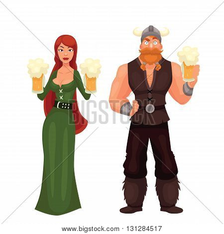Scandinavian man and woman Required to have a beer, vector cartoon comic illustration isolated on white background, red-haired girl in a green dress viking beer, red bearded Scandinavian drinking beer