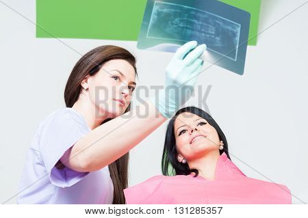 Dentist Doctor And Woman Patient Checking Xray