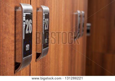 Closeup Of Digital Locker In Modern Changeroom With Numbers