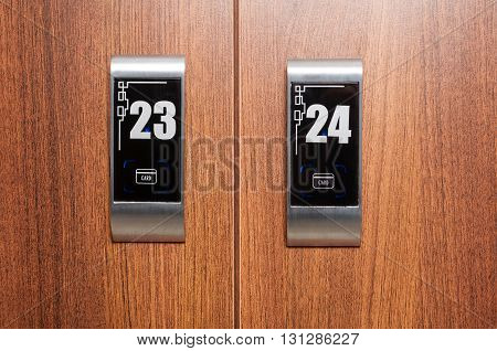 Close-up Of Electronic Card Locker On The Wardrobe