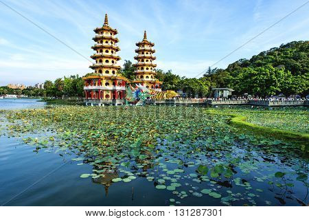 Local with Chinese-style architectural interest - Dragon Tiger Tower  in Kaohsiung - Taiwan