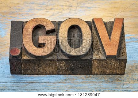 dot gov - government internet domain - text in vintage letterpress wood type blocks stained by color inks