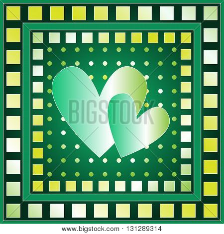 Background with green yellow and white hearts squares and dots