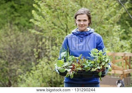 Proud and happy woman gardener bringing her homegrown seedlings collection prepared to be planted on her garden. Organic gardening healthy food self-supply and housework concept. poster