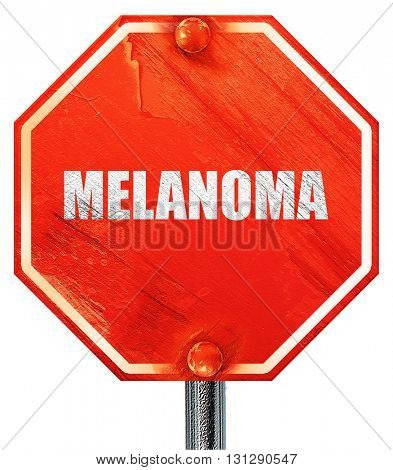 melanoma, 3D rendering, a red stop sign