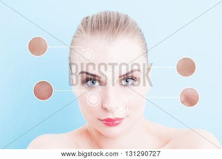Face Of Beautiful Woman With Pores Indicator