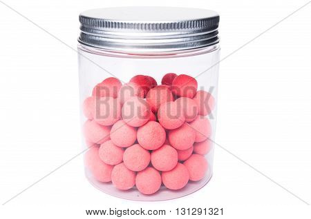 Expanded Fishing Bait In Transparent Jar