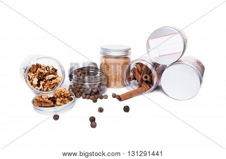 Plastic Jars As Storage Concept On White Advertising Space