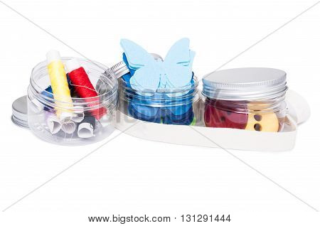 Transparent Plastic Recipients Or Containers With Handmade Supplies