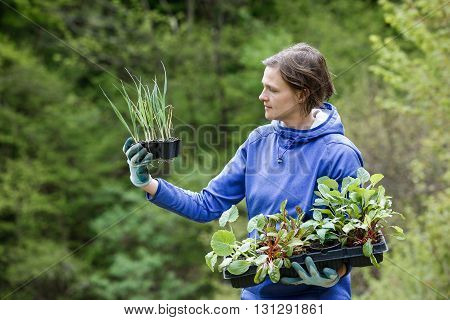 Proud woman gardener observing her seedlings collection prepared to be planted on her garden. Organic gardening healthy food self-supply and housework concept.