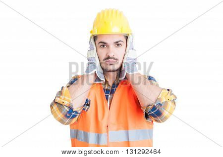 Hear No Evil Gesture With Handsome Engineer Or Constructor
