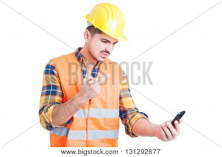 Rudeness And Obscene Gesture Concept With Young Engineer Or Constructor