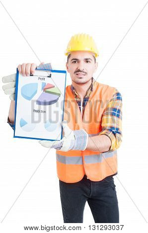 Engineer In Workwear And Halmet Holding A Clipboard With Charts