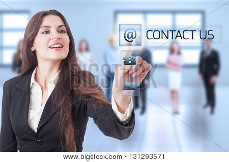 Contact Us Concept With Business Woman Pressing Transparent Futuristic Button