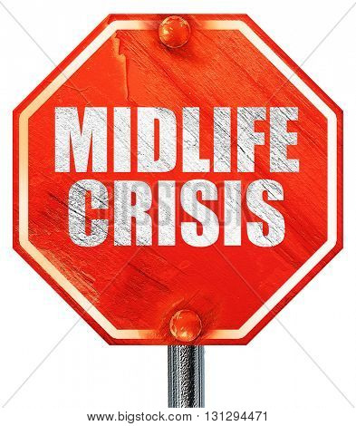 midlife crisis, 3D rendering, a red stop sign