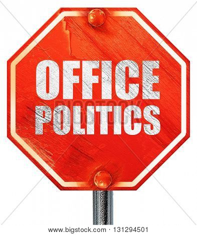office politics, 3D rendering, a red stop sign