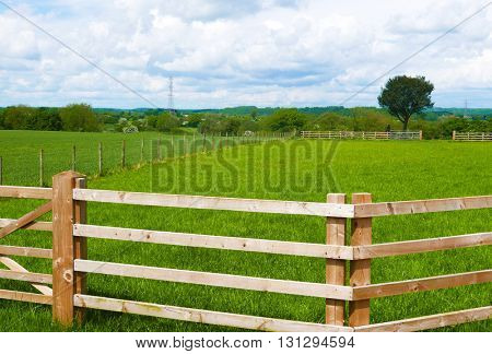 Farmer's wooden fence surrounding grassy field