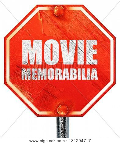 movie memorabilia, 3D rendering, a red stop sign
