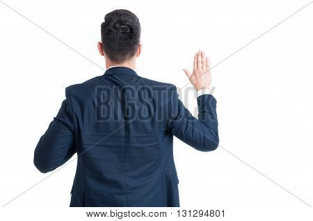 Back View Of A Lawyer Swearing Gesture