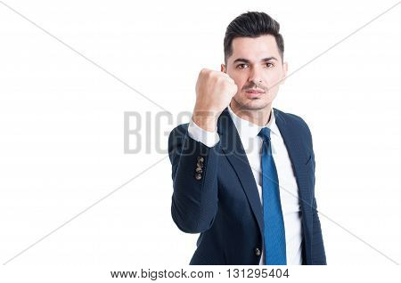 Handsome Young Manager Threatening By Showing The Fist