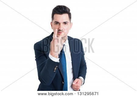 Businessman Making Look Into My Eyes And Pay Attention Gesture