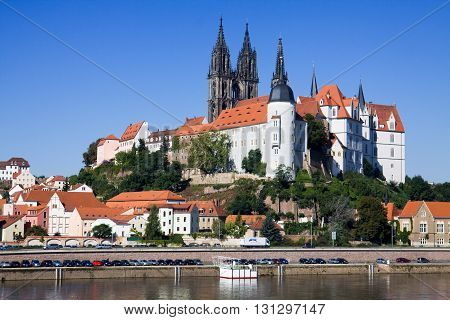 MEISSEN, GERMANY - SEPTEMBER 06, 2010: The Albrechtsburg castle in Meissen city in Germany. Meissen is a town on both banks of the Elbe river. The Albrechtsburg castle is one of main sights of Meissen.