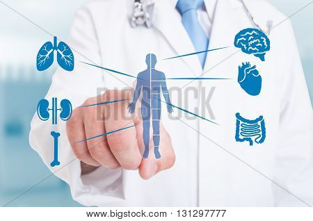 Young Medic Pointing On Modern Hologram With Internal Organs