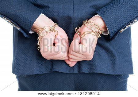 Back View Of Suspect Lawyer Chained For Corruption
