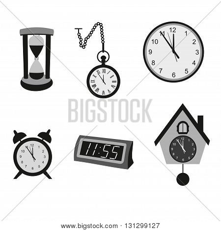 Different kinds of clocks. Different types of clocks. Different clocks vector collection. Kind of silhouette clocks on white background