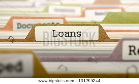 Loans Concept on Folder Register in Multicolor Card Index. Closeup View. Selective Focus. 3D Render.