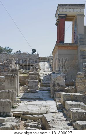 Scenes of the Minoan Palace of Knossos in Crete, Greece
