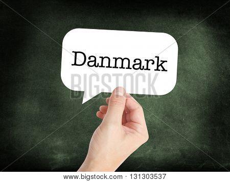 Danmark written on a speechbubble
