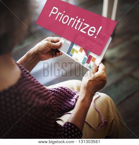 Prioritize Effectivity Focus Order Rank Tasks Urgent Concept poster