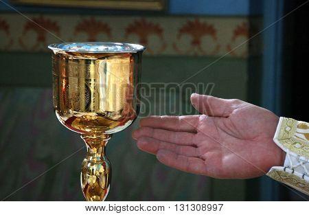 LUTSK UKRAINE - NOVEMBER 02 - Hand of priest during orthodox liturgy ceremony in Lutsk on November 02 2008.