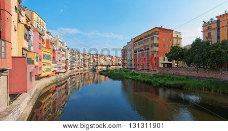 GIRONA SPAIN - JULY 25: View of Girona - historical jewish quarter on July 25 2014 in Girona Spain.