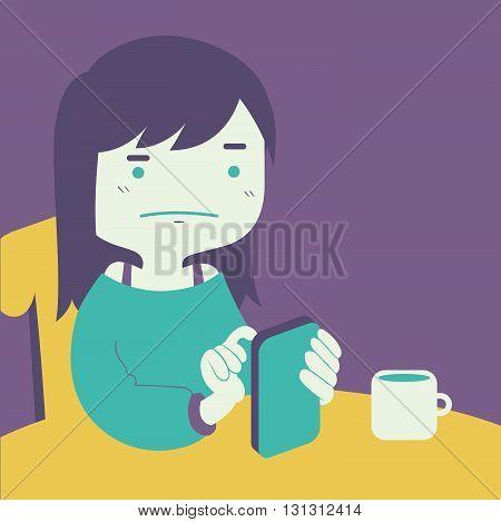 Cartoon Girl Looking At Phone