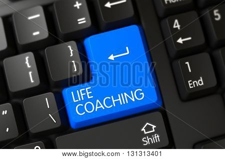 Modern Keyboard with Hot Key for Life Coaching. A Keyboard with Blue Button - Life Coaching. Life Coaching Written on a Large Blue Key of a Modern Keyboard. 3D Render.