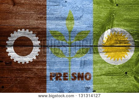 Flag Of Fresno, California, Painted On Old Wood Plank Background