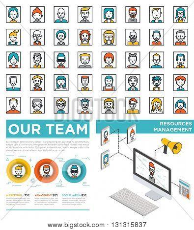 Mega Set of Flat Avatars with organization designs