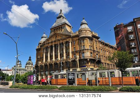 BUDAPEST HUNGARY - MAY 16: View of the Az Anker building in centre of Budapest on May 16 2016. Az Anker is the first block of flats in Budapest city Hungary.