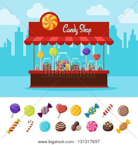 Sweet candy flat composition with different lollipops and stall on the street with sweets vector illustration