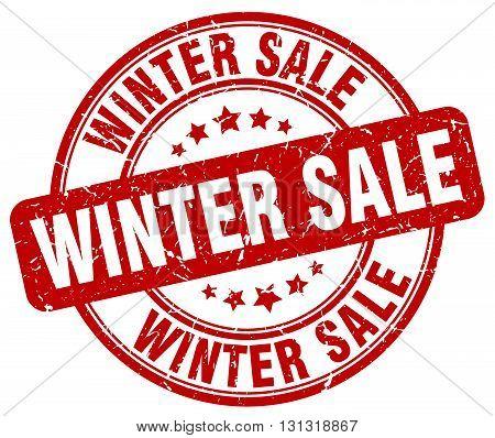 Winter Sale Red Grunge Round Vintage Rubber Stamp.winter Sale Stamp.winter Sale Round Stamp.winter S