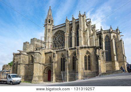 CARCASSONNE FRANCE - MAY 05 2015: The Basilica of Saints Nazarius and Celsus (French: Basilique des Saints Nazaire et Celse) is a romanesque-gothic minor basilica located in the citadel of Carcassonne France