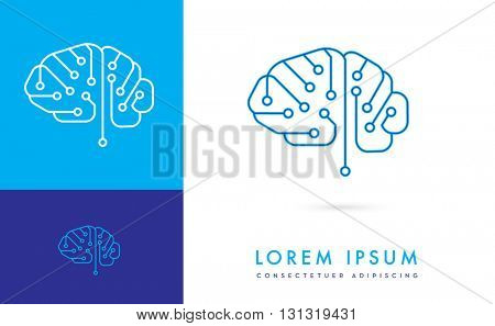 VECTOR LOGO / ICON OF A DIGITAL CIRCUIT INCORPORATED WITH A BRAIN