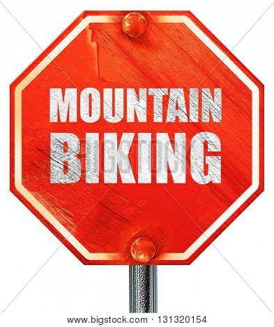 moutain biking, 3D rendering, a red stop sign