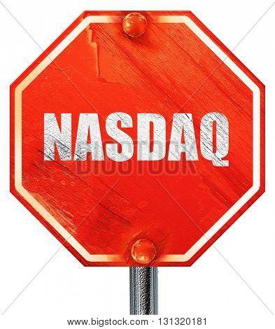 nasdaq, 3D rendering, a red stop sign
