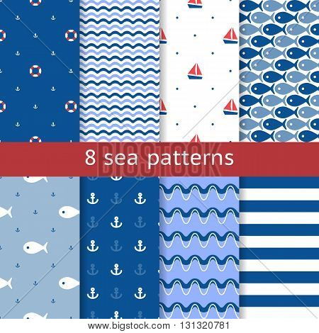 Set of seamless sea patterns. Nautical pattern. Marine pattern. Summer theme backgrounds