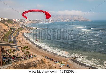 Miraflores beach in the city of Lima in Peru