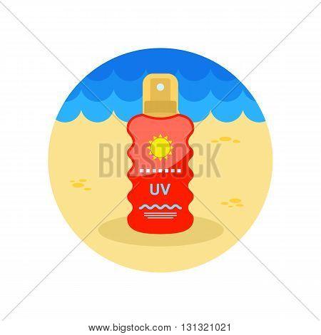 Sun Cream in Spray vector icon. Beach. Summer. Summertime. Vacation eps 10