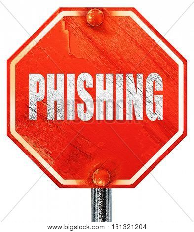 Phising fraud background, 3D rendering, a red stop sign